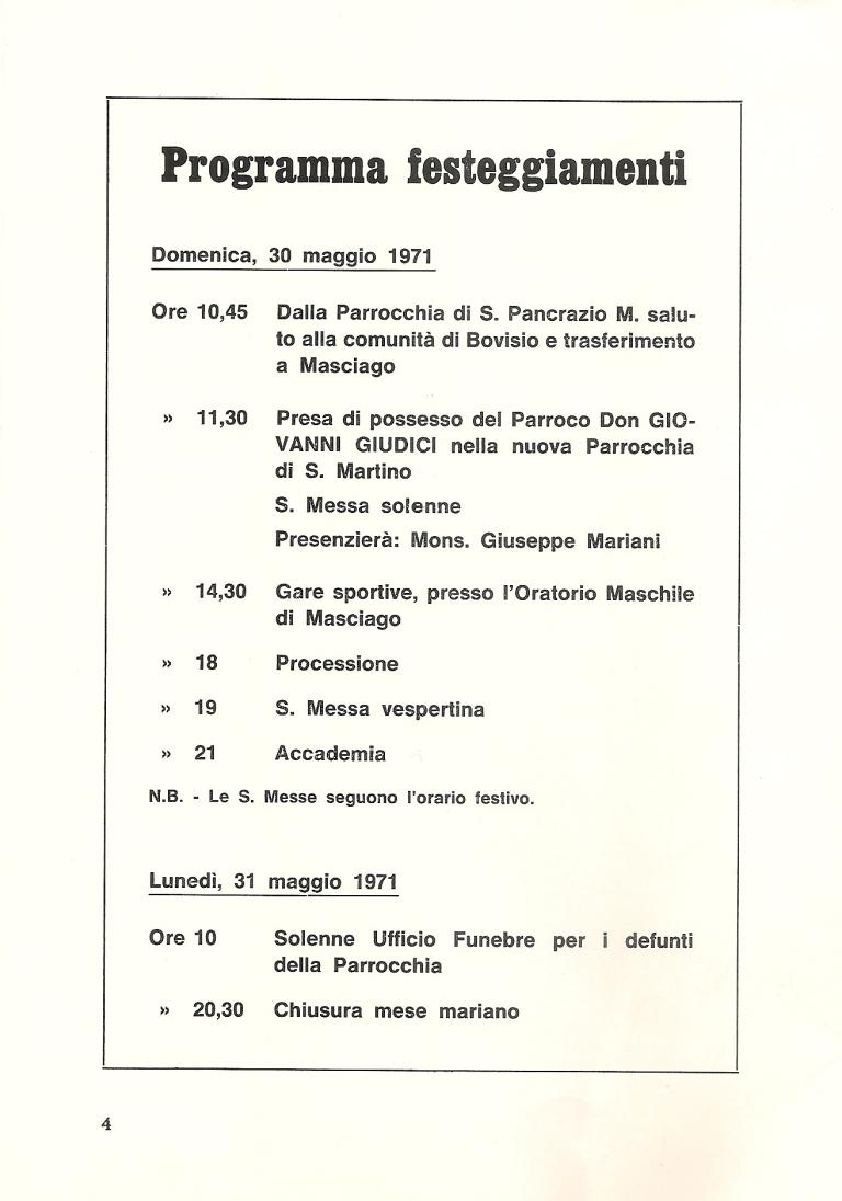 Calendario dei festeggiamenti